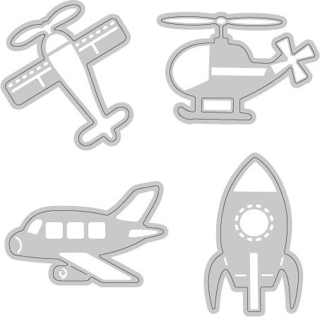 W04-017/WonderHouse/ワンダーハウス/ダイ(抜型)/乗り物シリーズ 4枚セット 飛行機 ヘリコプター ロケット