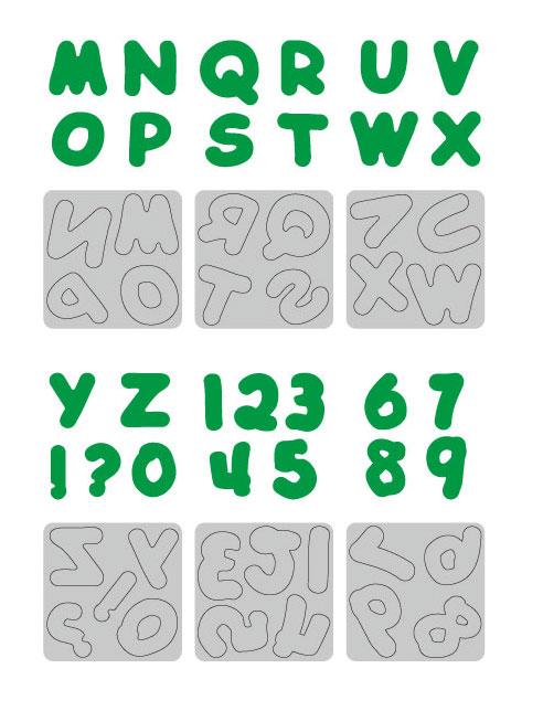 35-01(1-9)/WonderHouse/ワンダーハウス/スポンジダイ(抜型)/アルファベット&数字 9枚セット