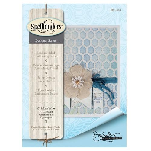 SEL-009/Spellbinders/スペルバインダーズ/エンボスフォルダ/Embossing Folders Donna Salazar Designs Chicken Wire チキンワイヤー ハニカム模様