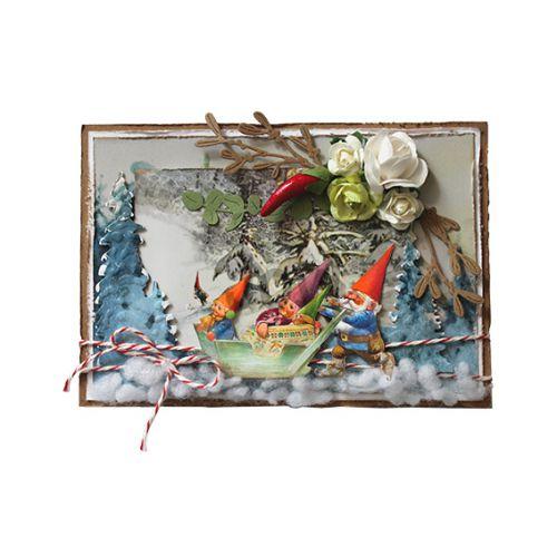 【6002-1369】/ジョイ・クラフツ/ダイ(抜型)/Gnomes family on sled 小人家族 と ソリー