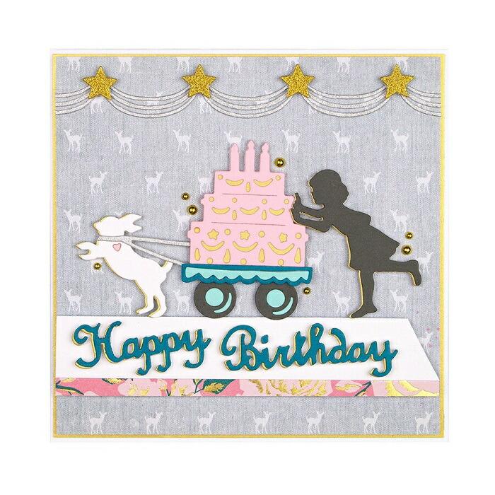 数量限定販売!!【S4-1003】/スペルバインダーズ/ダイ(抜型)/Happy Birthday テキスト ケーキ  女の子 うさぎ