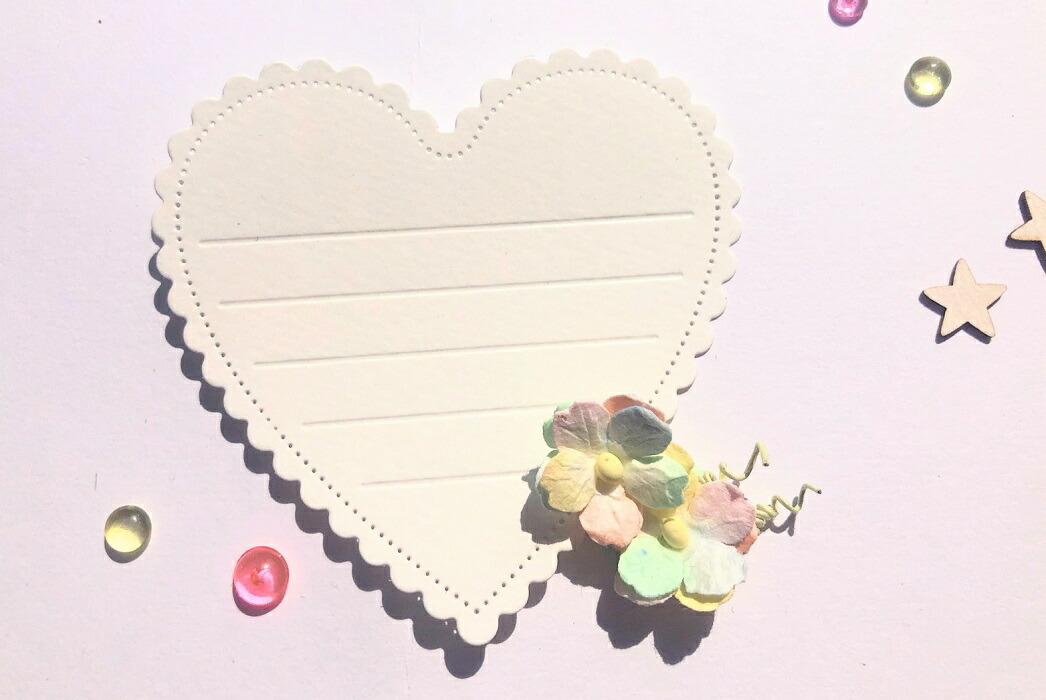 【406】/ワンダーハウス/ダイ(抜型)/メッセージカード 寄せ書き ハート スカラップ