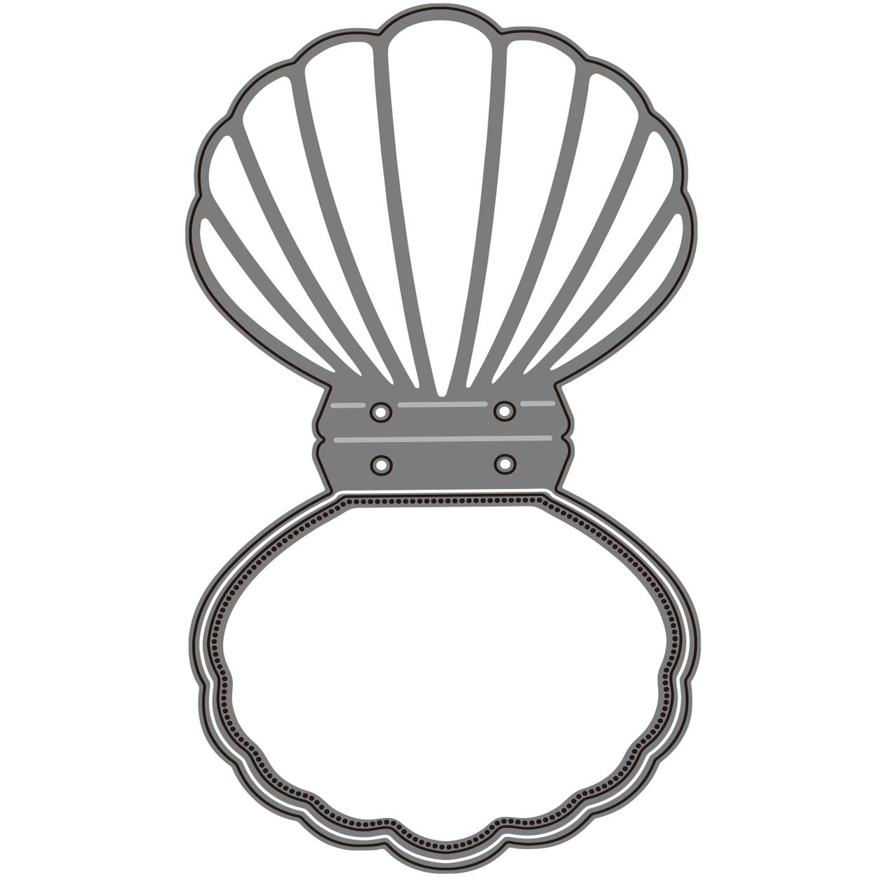 【419】/ワンダーハウス/ダイ(抜型)/貝殻カード スカラップ 貝