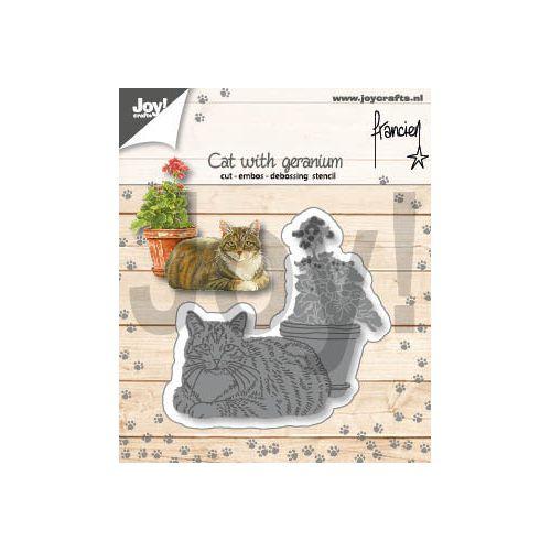 【6002-1358】ジョイ・クラフツ/ダイ(抜型)/Cat with geranium  ネコとゼラニウム 猫とゼラニウム