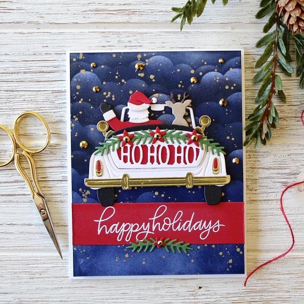 【S3-401】/スペルバインダーズ/ダイ(抜型)/車 クリスマス サンタクロース HOHOHO BE MERRY