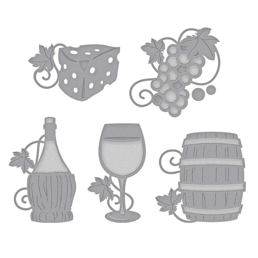 S5-347/Spellbinders/スペルバインダーズ/ダイ(抜型)/Shapeabilities Wine Charms Etched Dies Wine Country by Stacey Caron ワイン カントリー