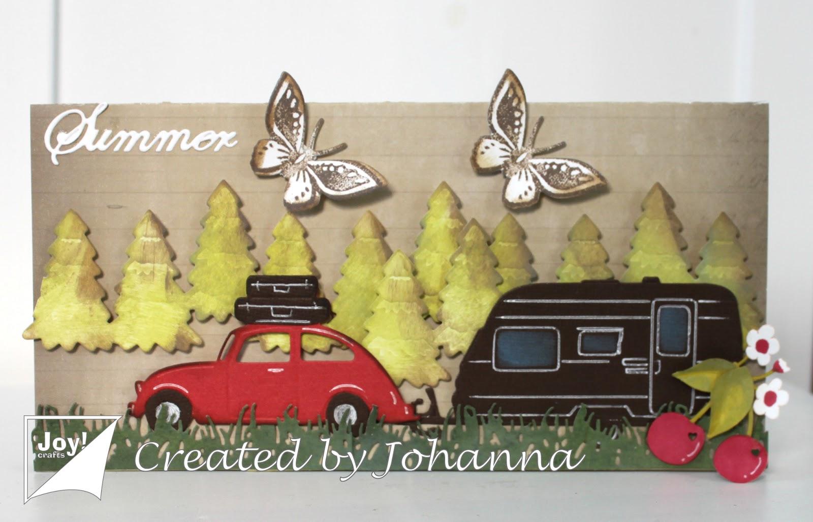 6002-0677/Joy! Crafts/ジョイ・クラフツ/ダイ(抜型)/3D - Car VW with suitcases 車 VW スーツケース 旅行
