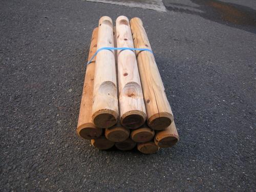 杉・桧丸太  横木 白木 0.6M  60~65mm  切込2箇所 10本1セット