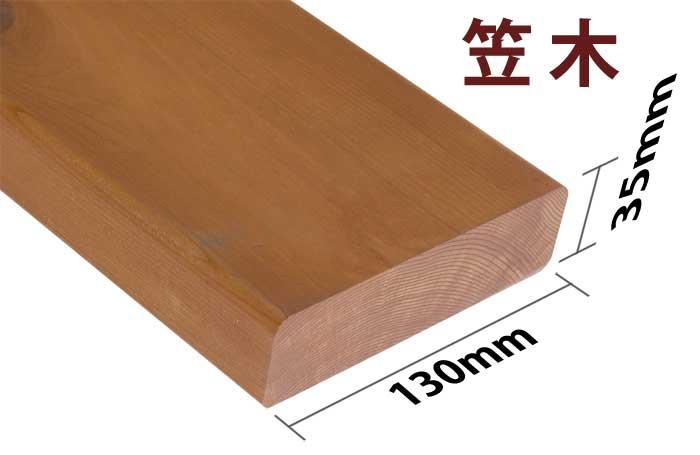 横ストライプ用笠木 0.8M 【キットデッキ専用手すり材質レッドシダー 日本製】