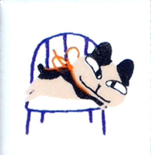 【陶器】【タイル】【アニーブンキャッツ】 ピチタイル文字「イスとねこNO.1」