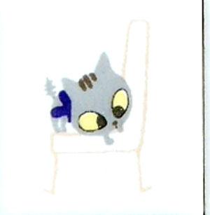 【陶器】【タイル】【アニーブンキャッツ】 ピチタイル文字「イスとねこNO.4」