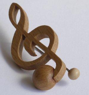 【木製文具】【木のクリップ】 音符クリップ ト音記号:ナラ