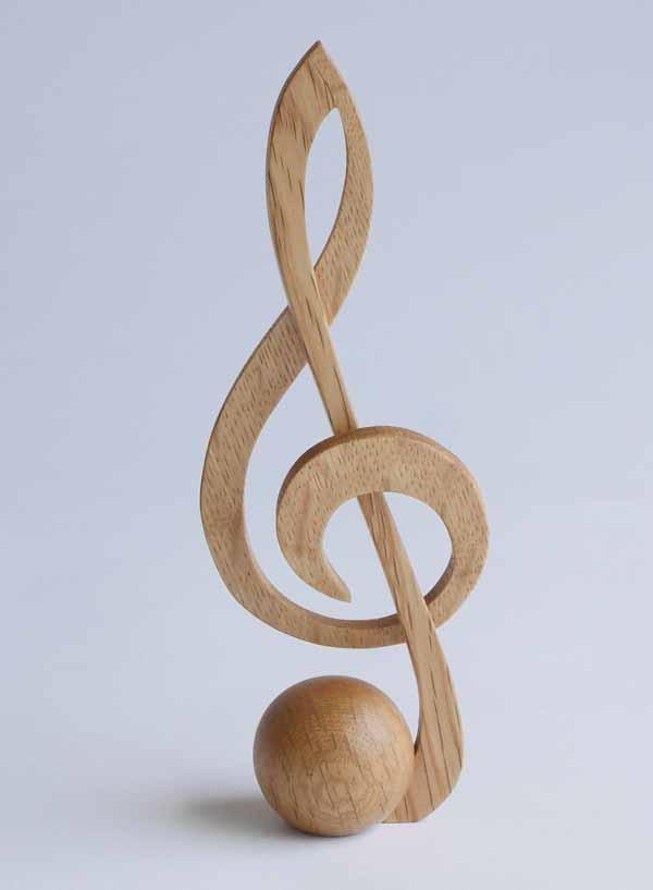 【木製文具】【木の文鎮】 メロディウェイト ト音記号 ナラ
