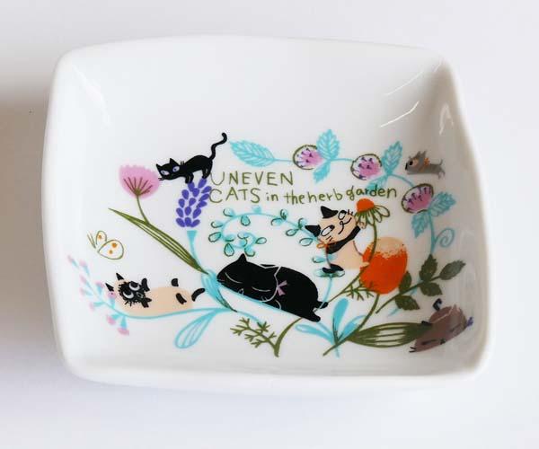【陶器】【食器】いろとり皿ねこFLOWER