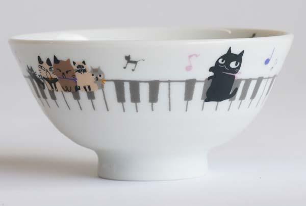 【陶器】【食器】お茶わんねこMUSIC