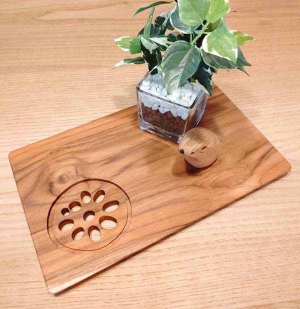 木製キッチン用品 木の皿 れんこんプレートL