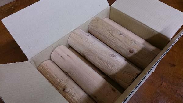 ちび丸太・10本1セット (園芸・木工作用) 直径約60×220ミリ 材質スギ