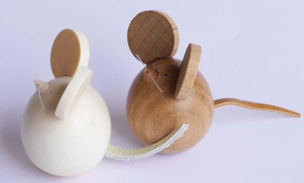 【木製雑貨】【木製縁起置物】 起き上がり ねずみ (セットではありません)