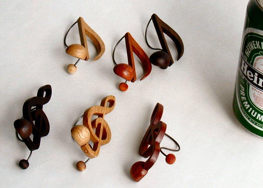 【木製文具】【木のクリップ】 音符クリップ ト音記号:ローズ