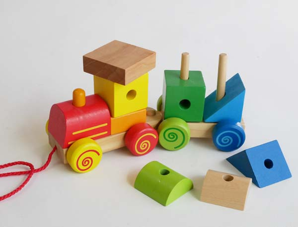木製玩具 汽車ブロックトレイン