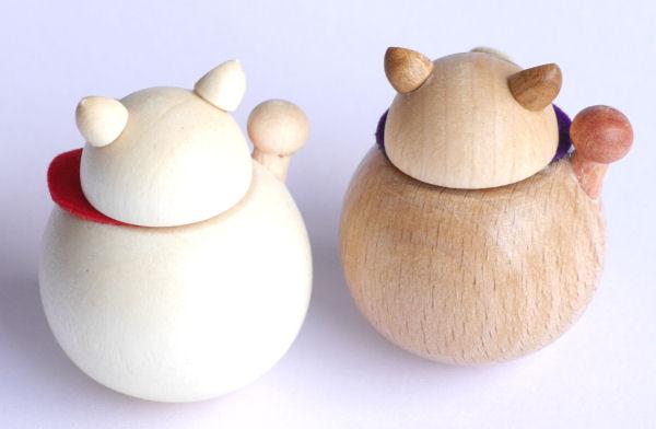 【木製雑貨】【木製置物】 起き上がりまねきねこ (セットではありません)