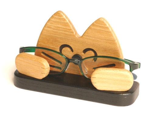 【木製雑貨】【木のめがねスマホ置き】 メガネ・スマホスタンドねこ