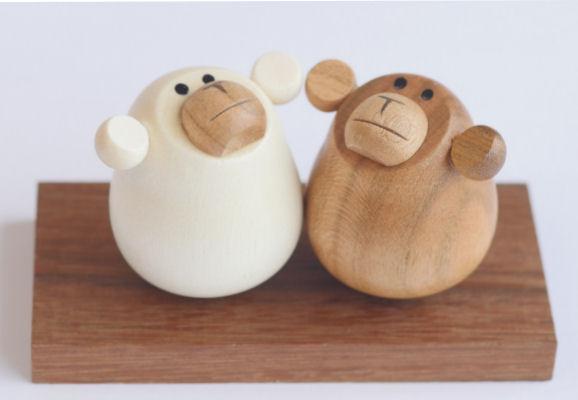 【木製雑貨】【木製縁起置物】 起き上がり さる(新) (セットではありません)