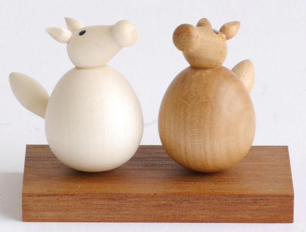 【木製雑貨】【木製縁起置物】 起き上がり うま (セットではありません)