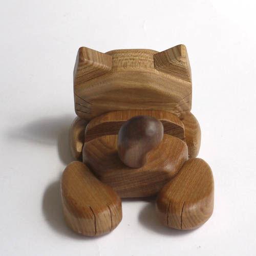 【木製雑貨】【木のCDスマホスタンド】 CDスマートフェオンスタンドねこ