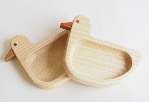 【木製キッチン用品】【木のお皿】 あひる皿 小