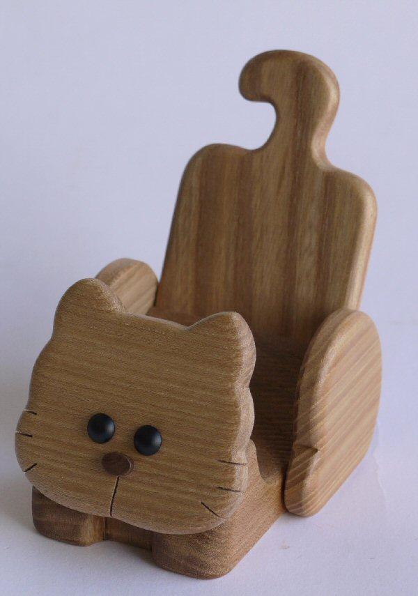 【木製雑貨】【木の携帯スマホ台】 動物携帯スタンドねこ