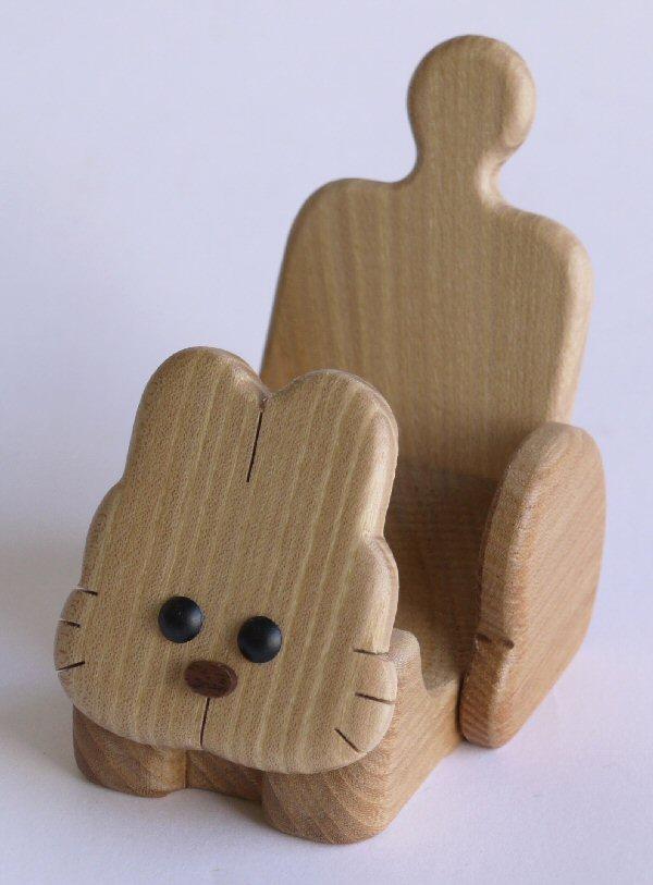 【木製雑貨】【木の携帯スマホ台】 動物携帯スタンドうさぎ