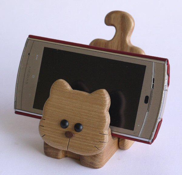 【木製雑貨】【木の携帯スマホ台】 動物携帯スタンドくま