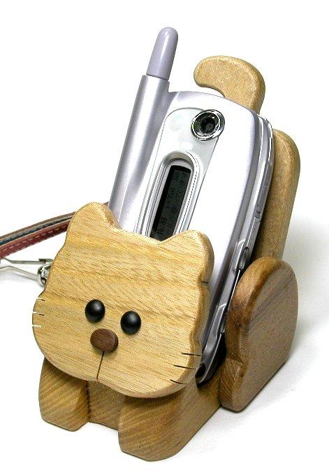 【木製雑貨】【木の携帯スマホ台】 動物携帯スタンドきつね