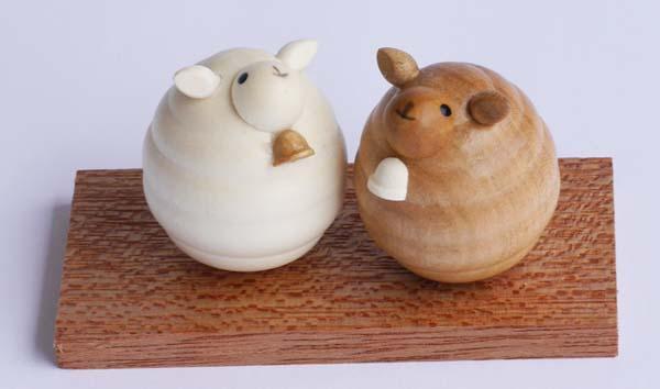 【木製雑貨】【木製縁起置物】 起き上がり ひつじ(新) (セットではありません)