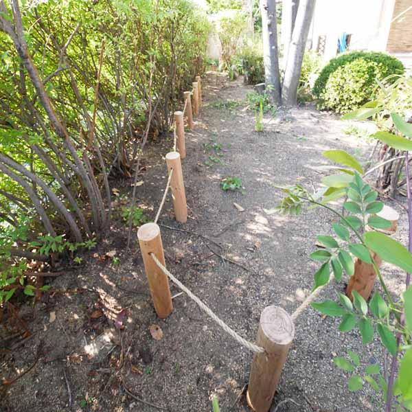 穴あけ加工付き杭丸太10本1セット 杭先あり ガーデン用品 天然木 丸太 自然木