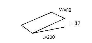 キャンバーM 200×0/37×86 20個 土木仮設材くさび(単位ミリ)