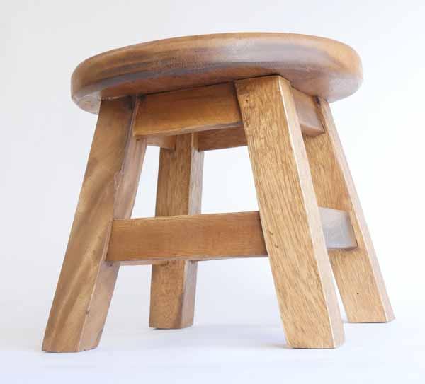 木製イス カントリー調 ラウンドスツールスカーフミケ