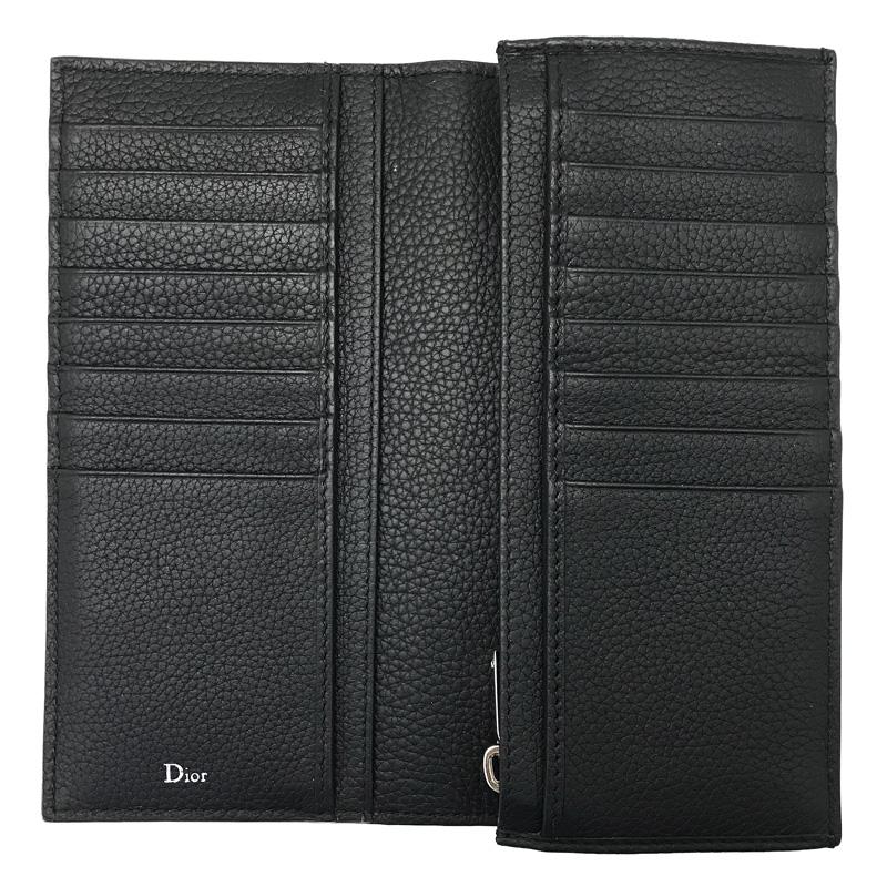 DIOR HOMME 長財布 2ATBC002 型押しレザー 2つ折り小銭入れあり ブラック