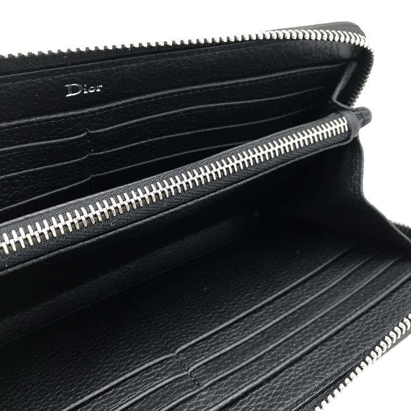 DIOR HOMME 長財布 2ATBC011 型押しレザー ジップアラウンド小銭入れあり ブラック