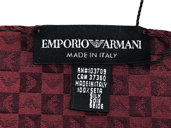 EMPORIO ARMANI ポケットチーフ 340033 イーグルロゴ柄 シルク  バーガンディー
