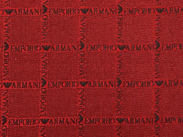 EMPORIO ARMANI ポケットチーフ 340033 ロゴ柄 シルク  レッド