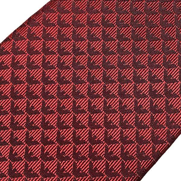 EMPORIO ARMANI ネクタイ【レディース】イーグルロゴ柄 シルク ネクタイ レッド 340075-613-00074