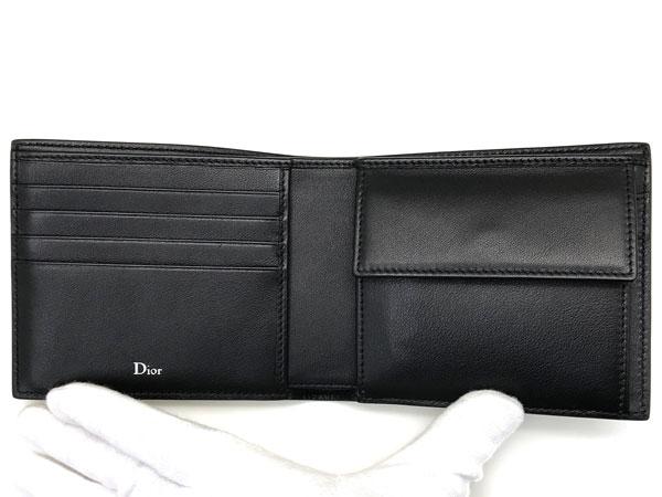 DIOR HOMME 2つ折り財布 2ABBC027 BEE 型押しレザー 小銭入れあり ブラック