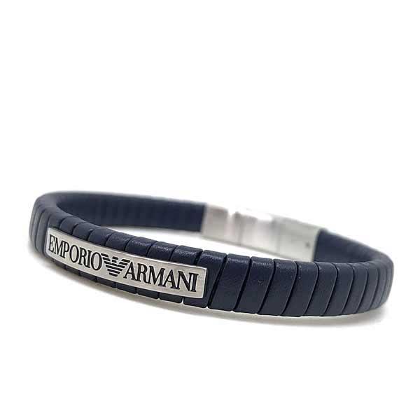 EMPORIO ARMANI ブレスレット ネイビー×マットシルバー EGS2639040