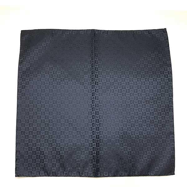 EMPORIO ARMANI ポケットチーフ【レディース】 イーグルロゴ柄 シルク ナイトブルー 340033-612-00036