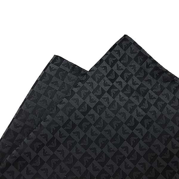EMPORIO ARMANI ポケットチーフ【レディース】 イーグルロゴ柄 シルク チャコール 340033-612-04543