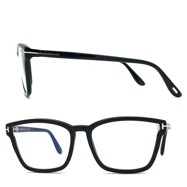 TOM FORD メガネフレーム ブラック 眼鏡 伊達メガネ用ブルーライトカットレンズ付 パソコン用 PCメガネ TF-5707B-001