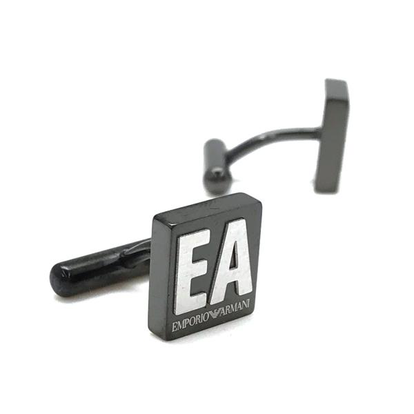 EMPORIO ARMANI カフスボタン マットガンメタル ロゴ EGS2756060