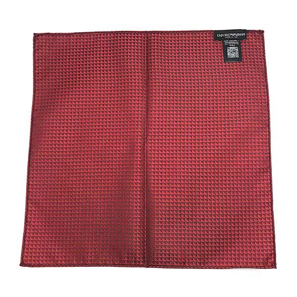 EMPORIO ARMANI ポケットチーフ イーグルロゴ柄 シルク レッド 340033-613-00074